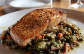 Salmon with Lentils, Bacon and Gordal Olives