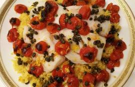 Extra Virgin Olive Oil Poached Cod with Roasted Tomatoes and Fried Capers