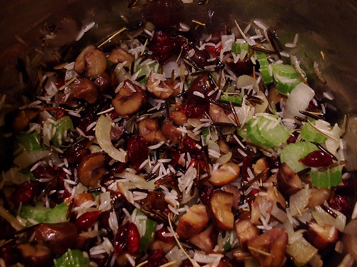 Wild Rice stuffing with cranberries and hazelnuts (gluten free)